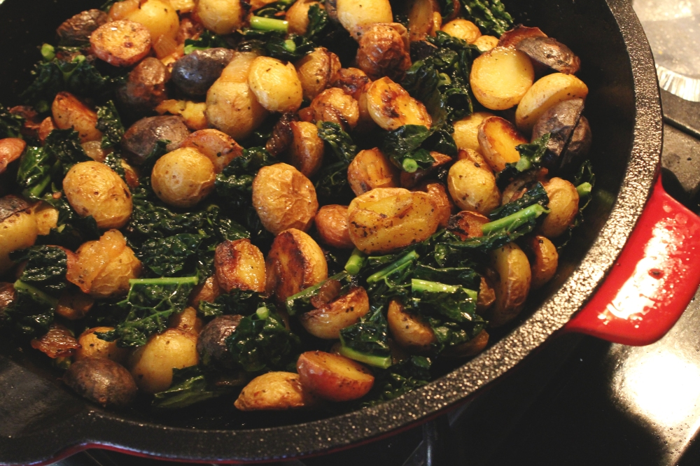 Pan Roasted Potatoes and Kale