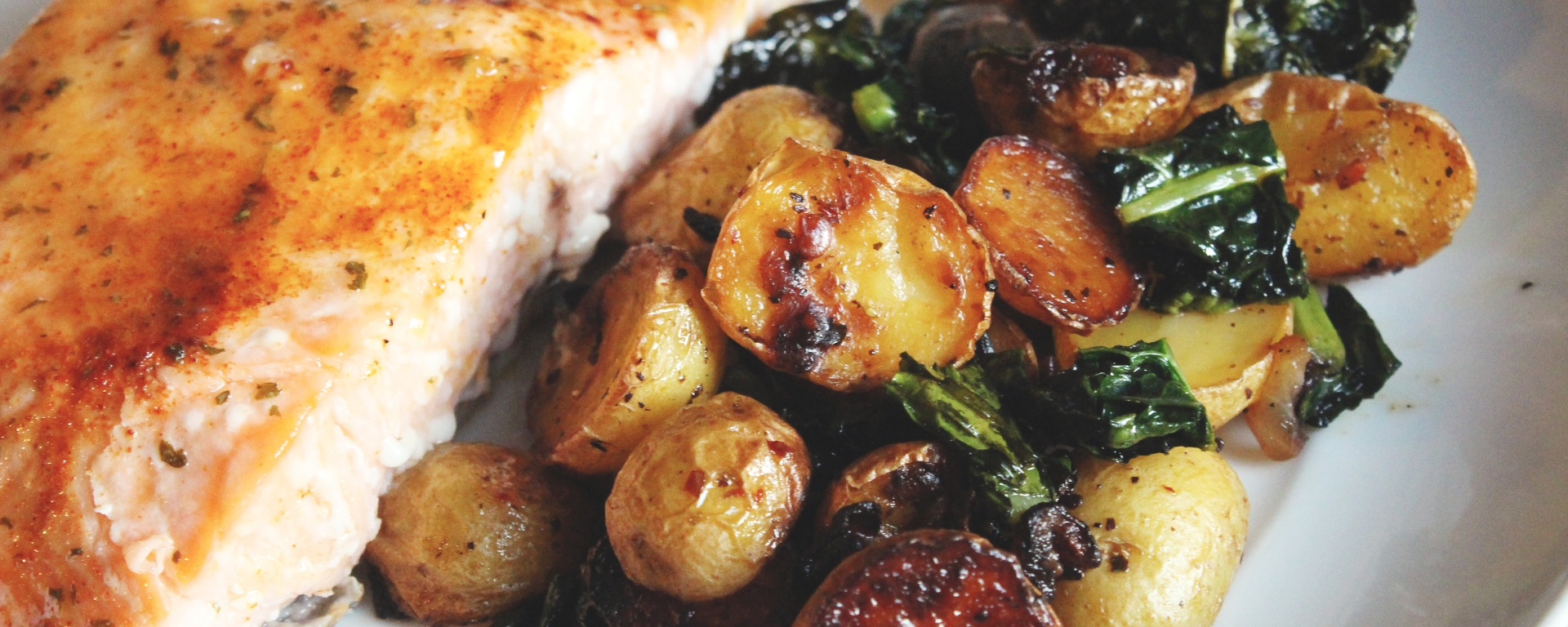 Salmon with Pan-Roasted Potatoes and Dino Kale | and she cooks
