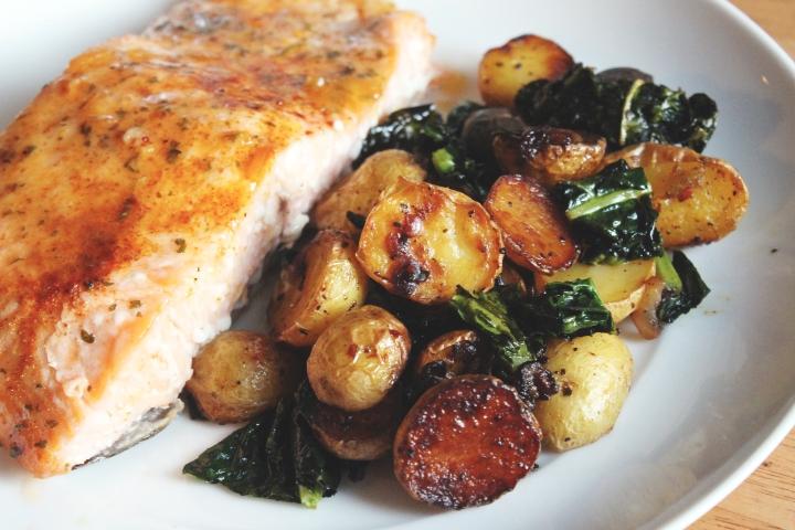 Salmon Roasted Potatoes and Kale